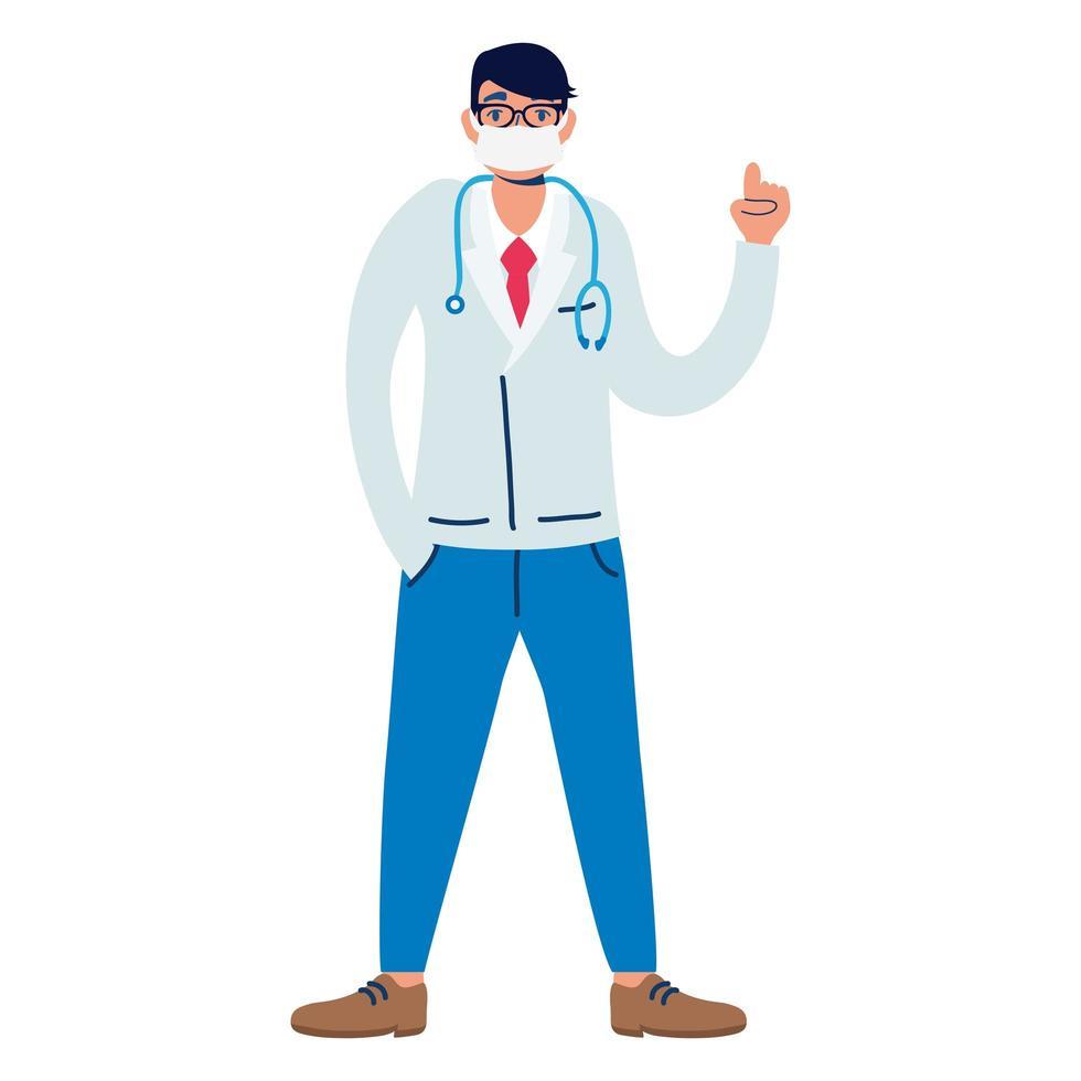professioneller Arzt mit Stethoskopcharakter vektor