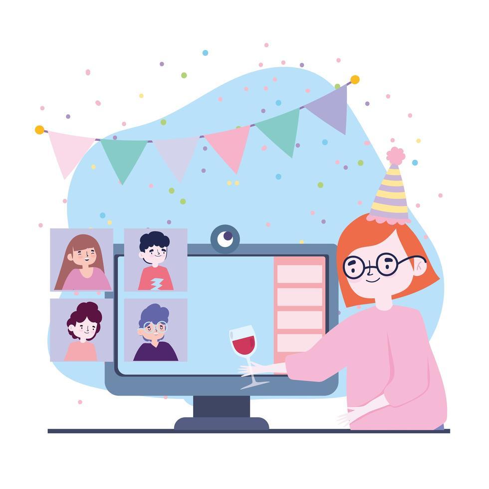 online fest, träffa vänner, kvinna med glas vin dator grupp firar evenemang vektor
