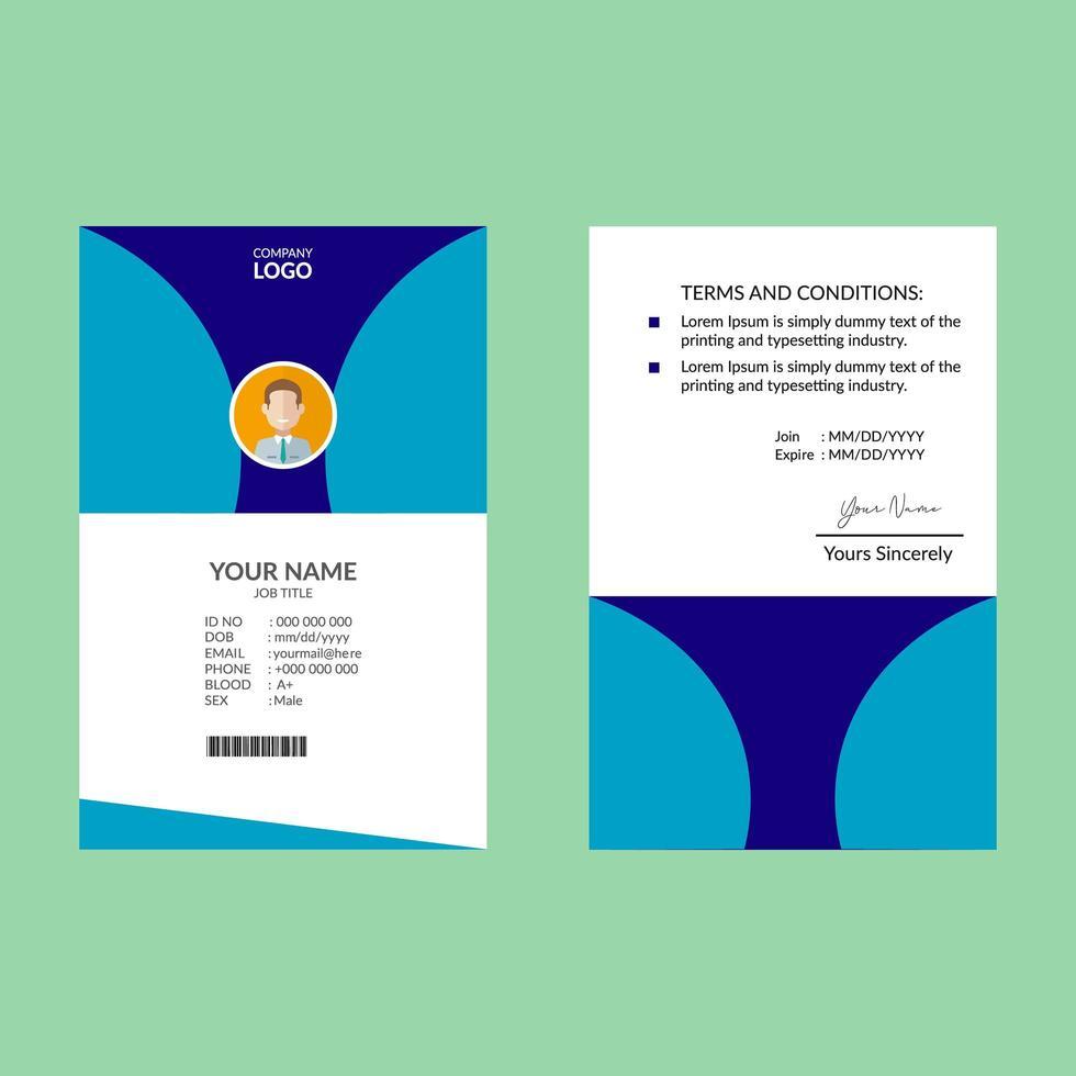 blå elegant id-kort formgivningsmall vektor