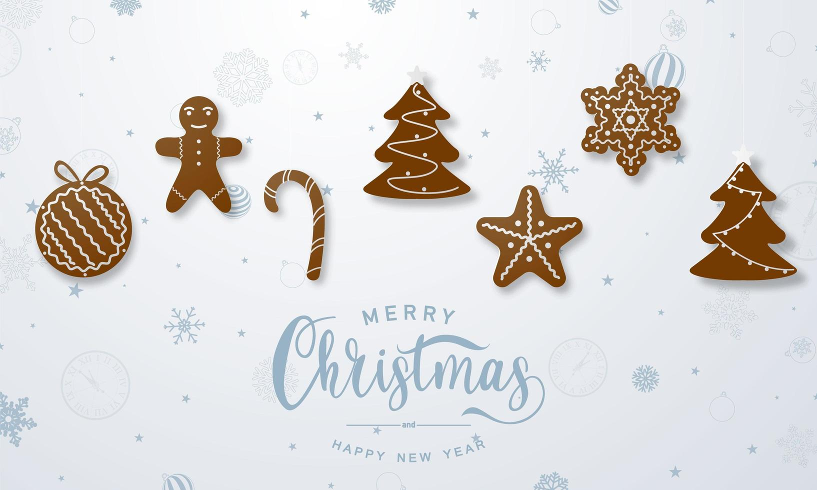 god jul och gott nytt år bakgrund. firande bakgrundsmall med pepparkakor män. vektor