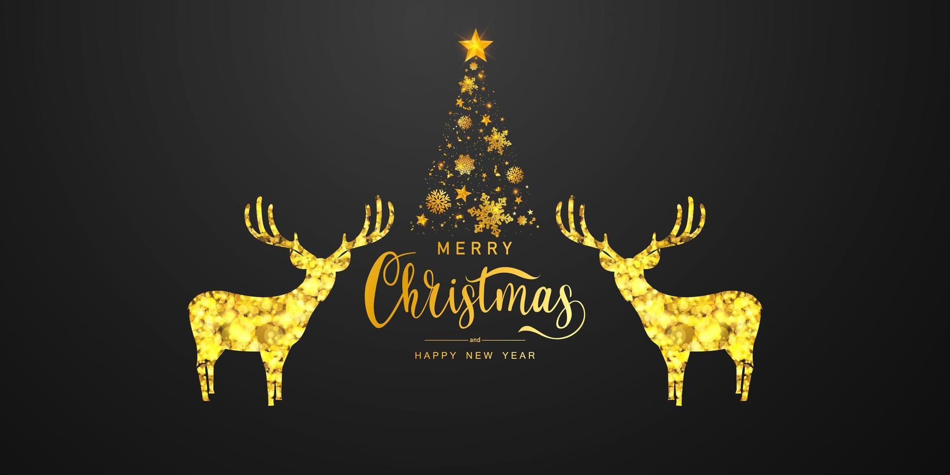 Frohe Weihnachten und ein frohes neues Jahr Hintergrund. Feier Hintergrundvorlage mit Hirsch Bokeh. Luxus Gruß reiche Karte. vektor