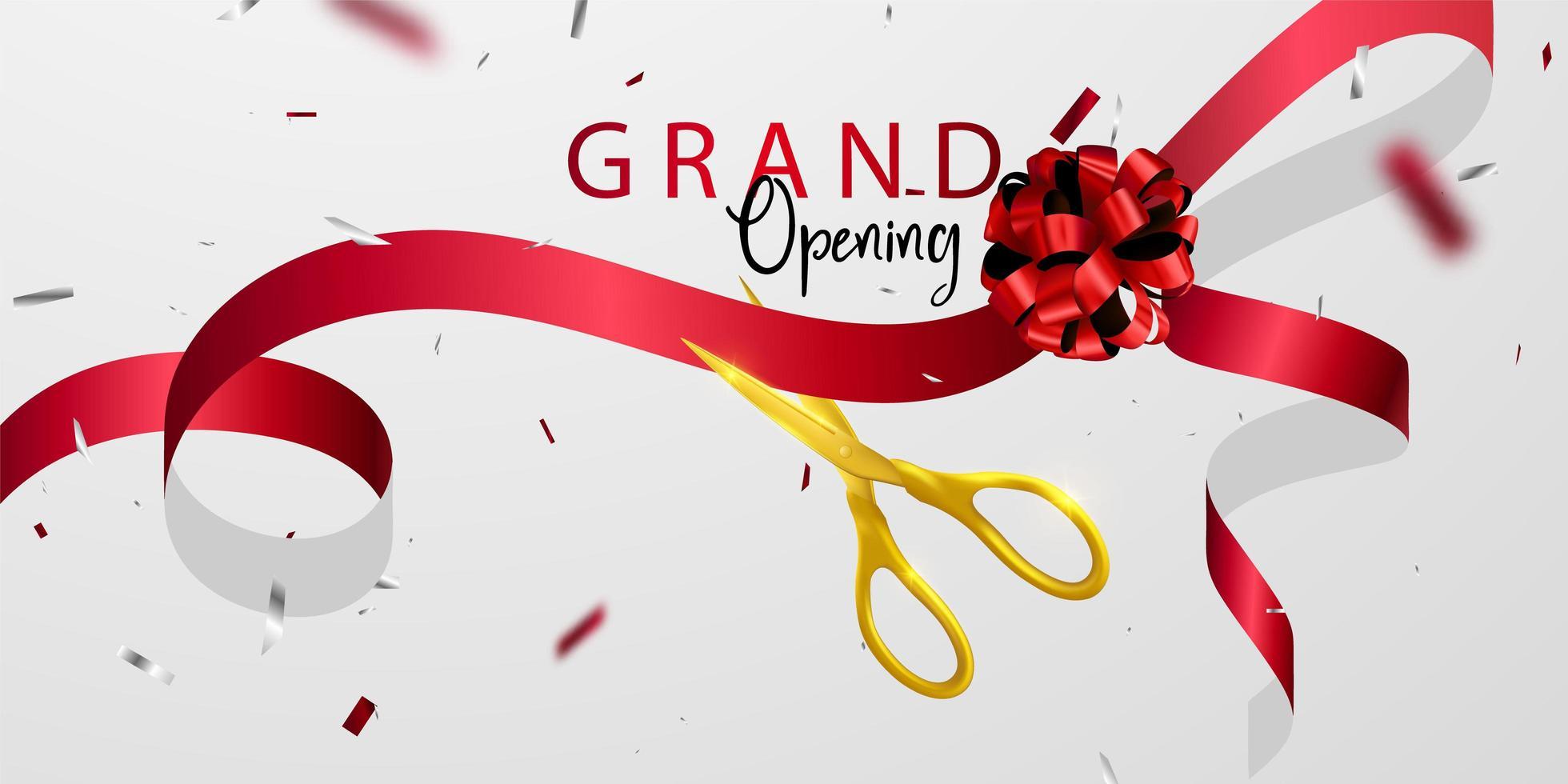 grand öppningskort med rött band bakgrund glitter ram mall. vektor