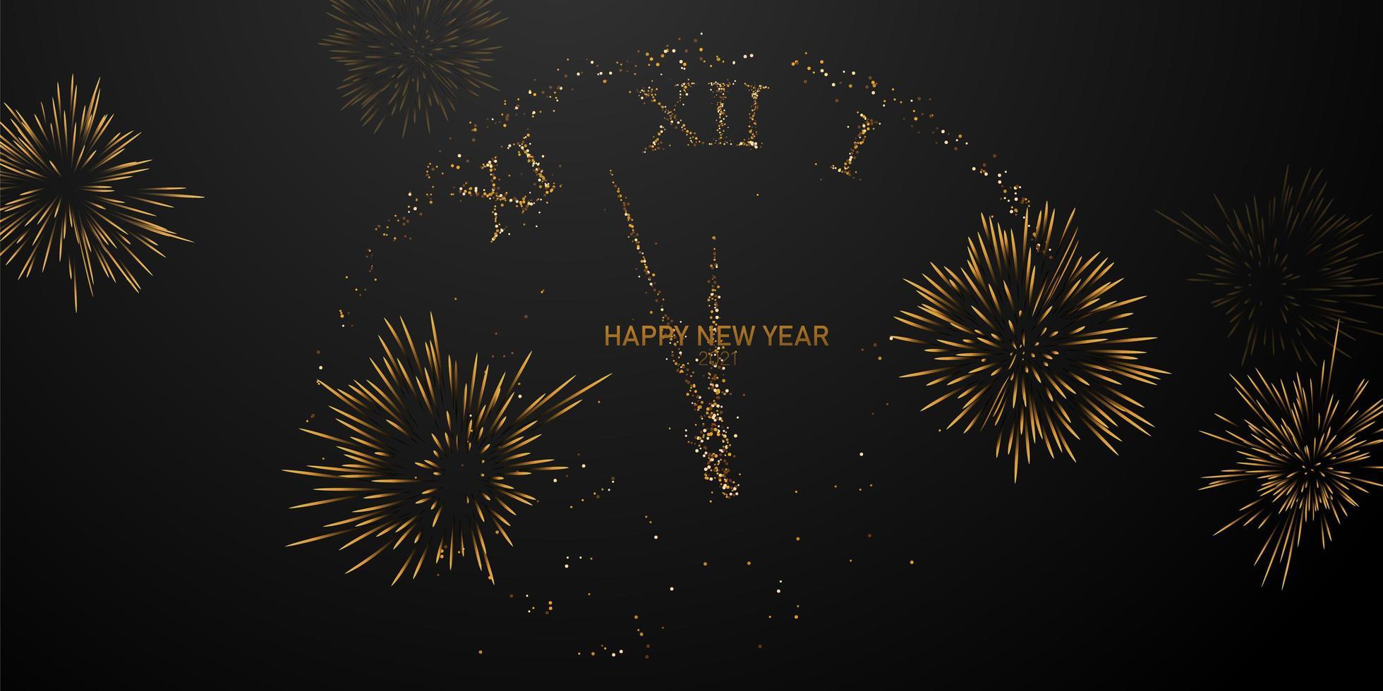 Frohes neues Jahr 2021 Feuerwerk Uhr Hintergrund. vektor