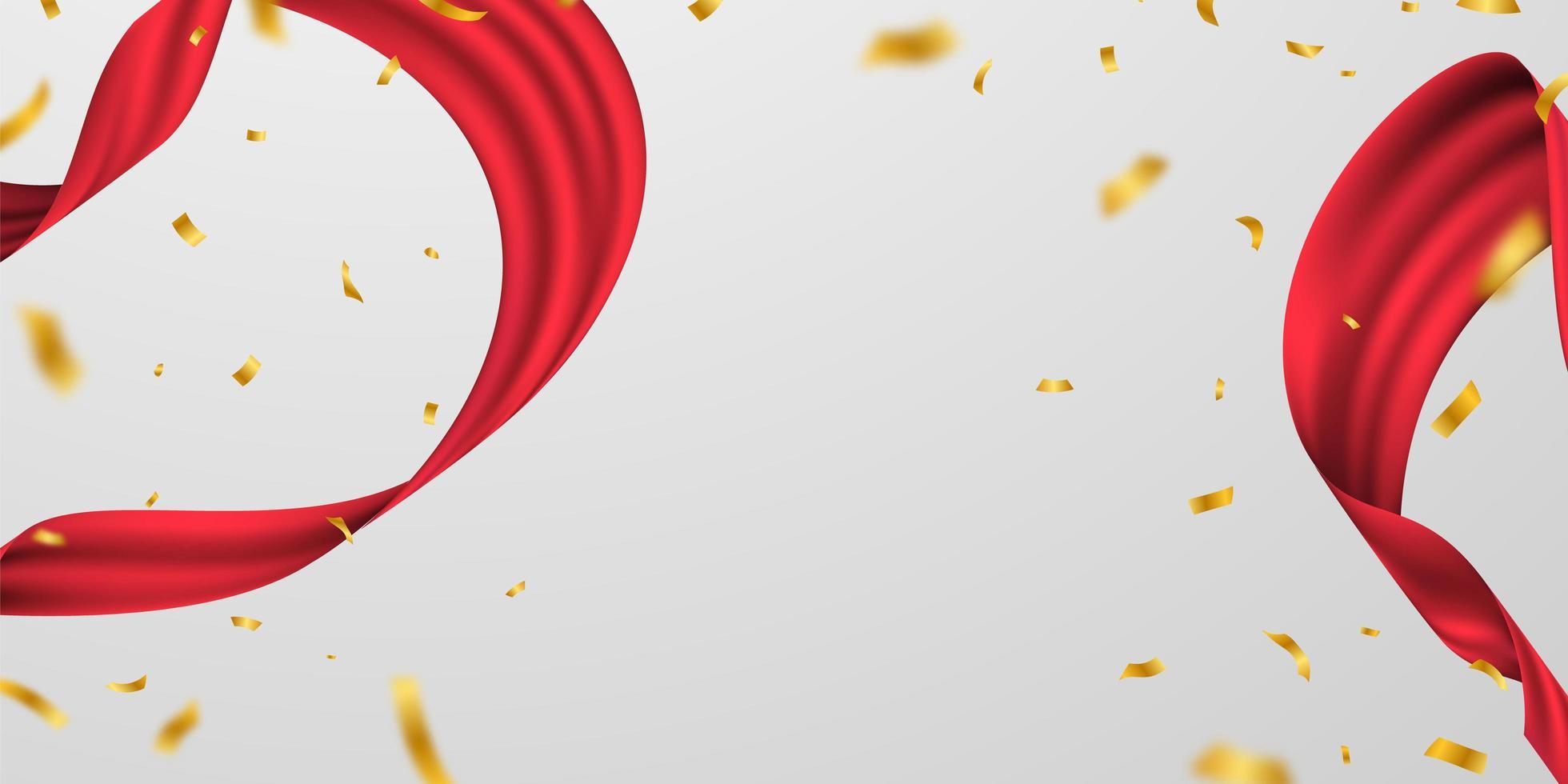 Grand Opening Karte mit rotem Band Hintergrund Glitter Frame Vorlage. vektor