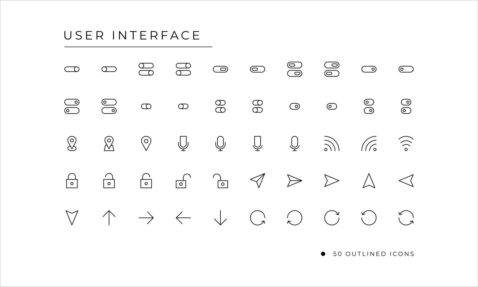 användargränssnitt ikonuppsättning med konturerad stil vektor