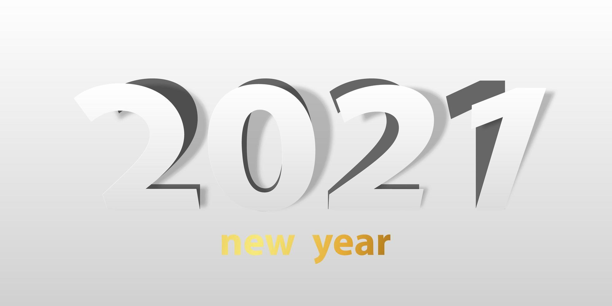 gott nytt år 2021 pappersskuren bakgrund. vektor