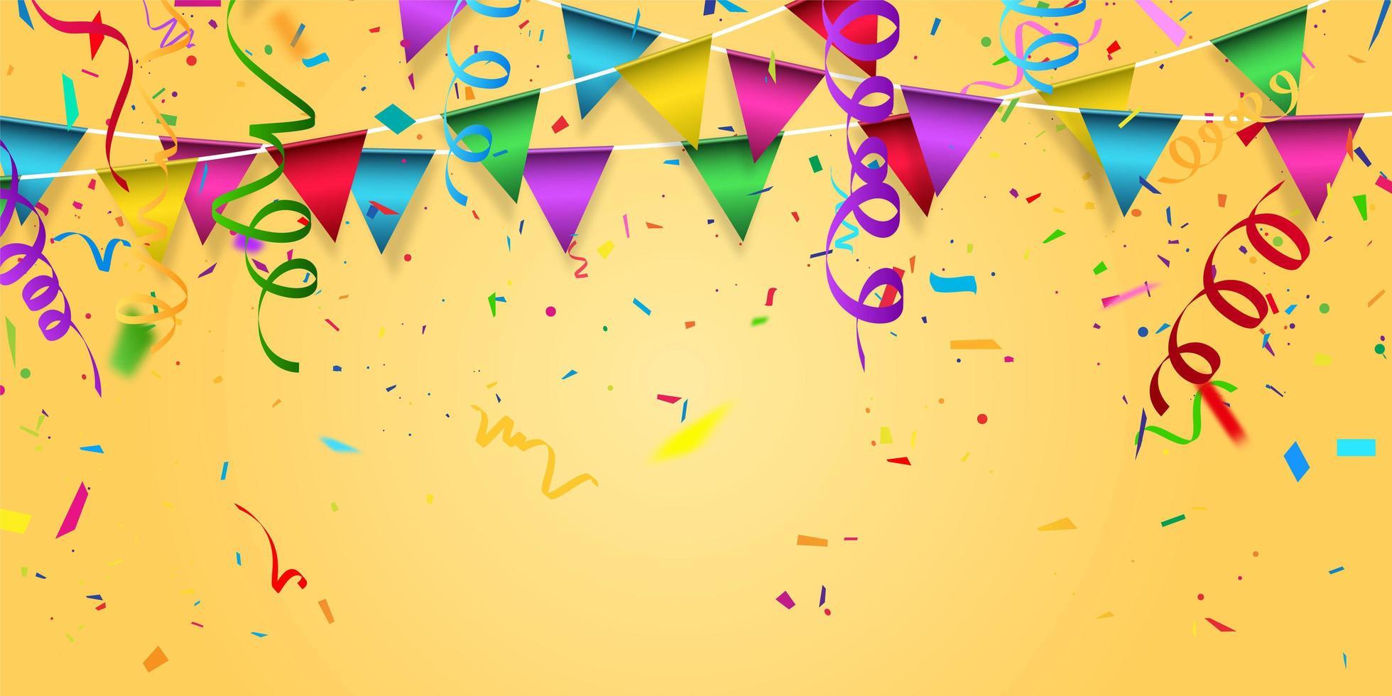 Party Flag und Konfetti Konzept Design Vorlage vektor