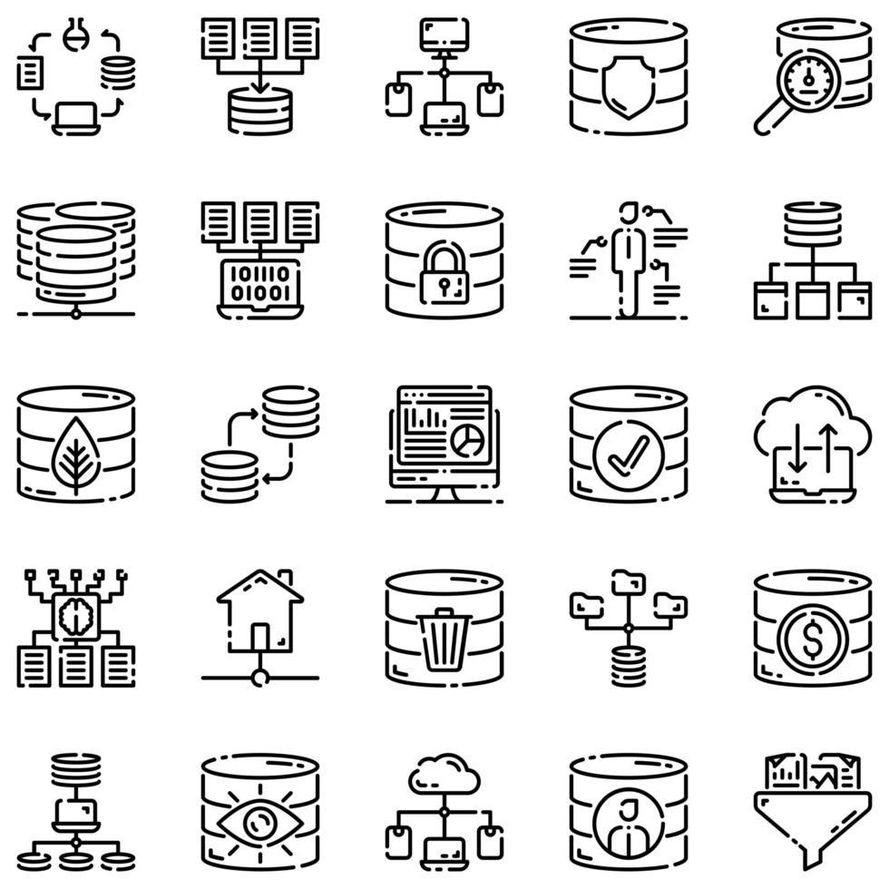 Big Data Outline Icon Set Vol2 vektor
