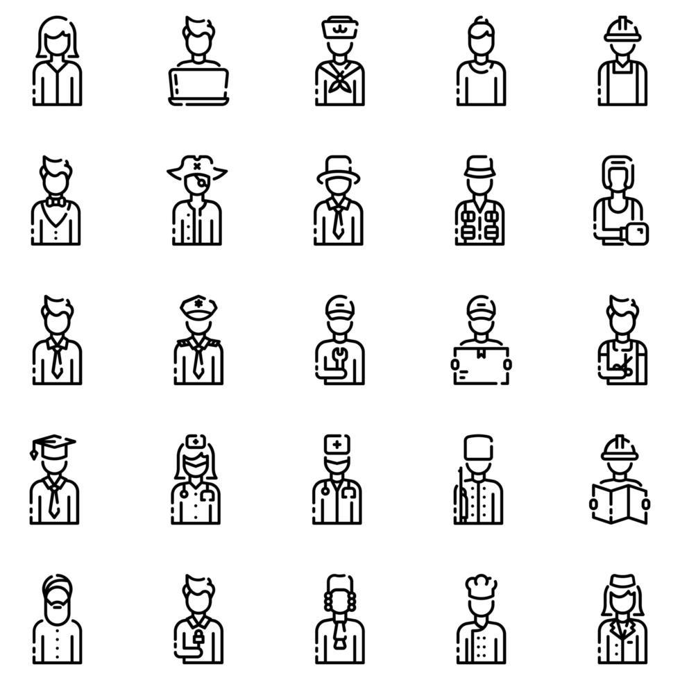 avatarer disposition ikonuppsättning vol1 vektor