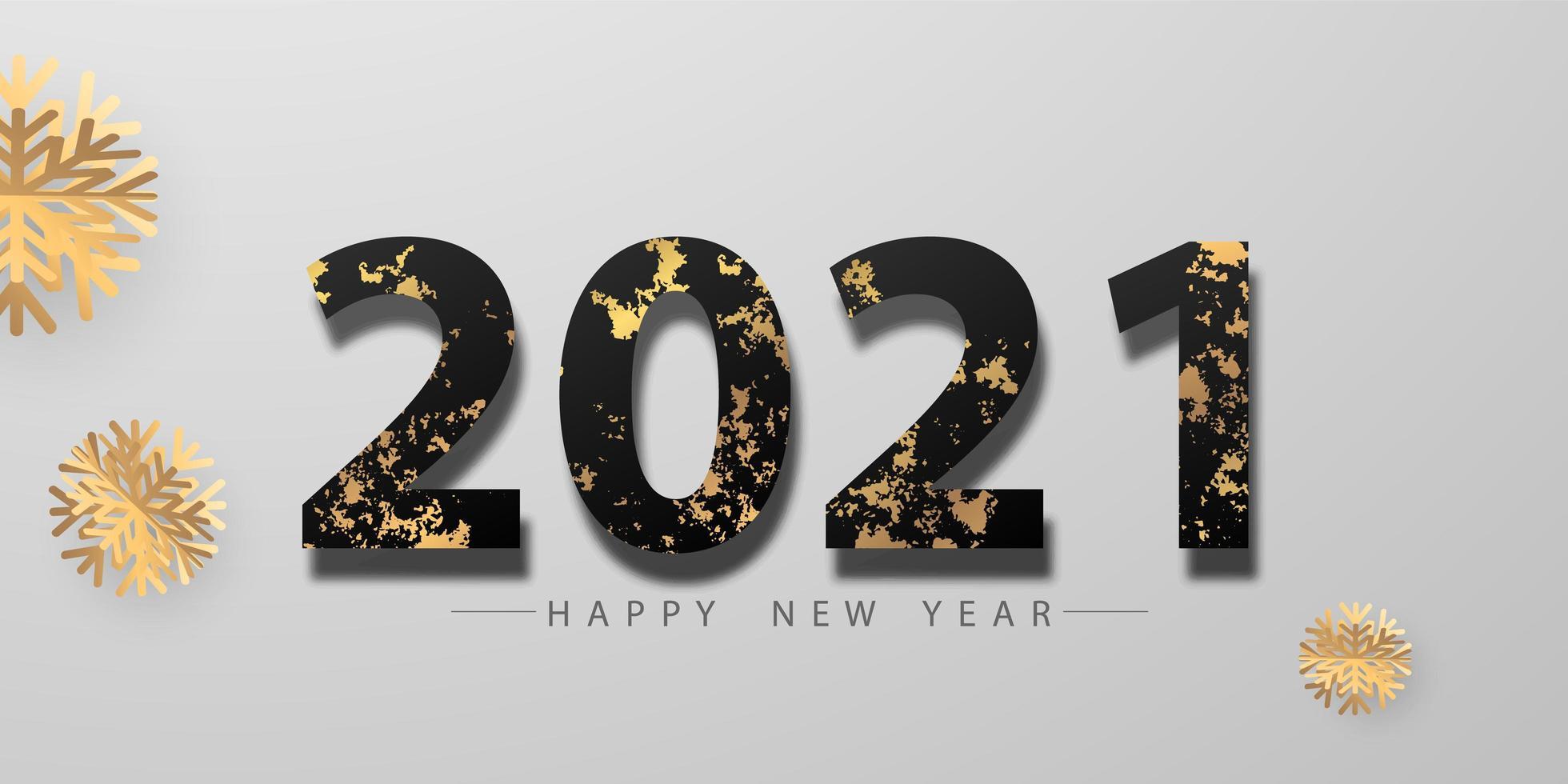 Frohes neues Jahr 2021 Gold und schwarzer Hintergrund. vektor