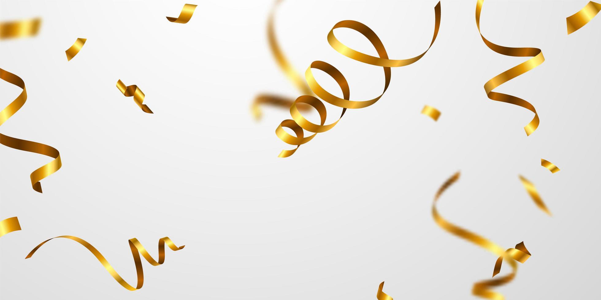 Konfetti Goldbänder. Feier Luxus Gruß reiche Karte. vektor