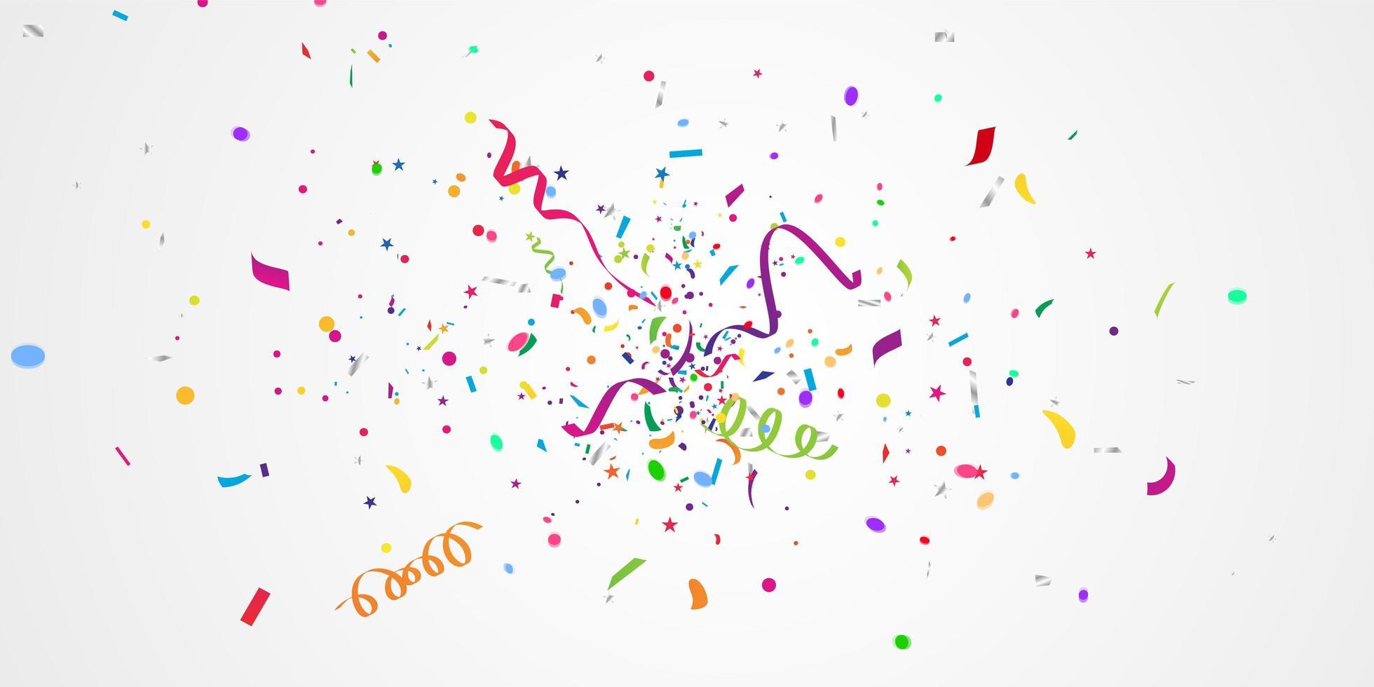konfetti och färgglada band. firande bakgrundsmall med vektor