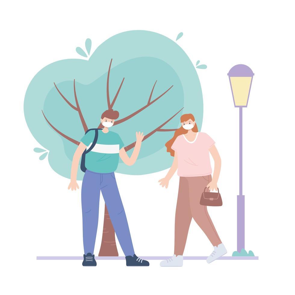 personer med medicinsk ansiktsmask, pojke och kvinna som går på gatan, stadsaktivitet under koronavirus vektor