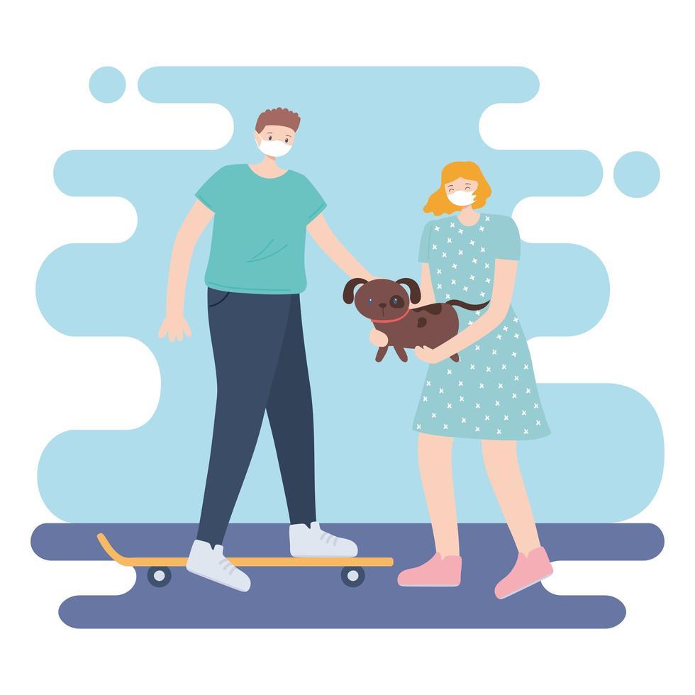 personer med medicinsk ansiktsmask, kvinna som bär hund och man åker skridskor, stadsaktivitet under koronavirus vektor