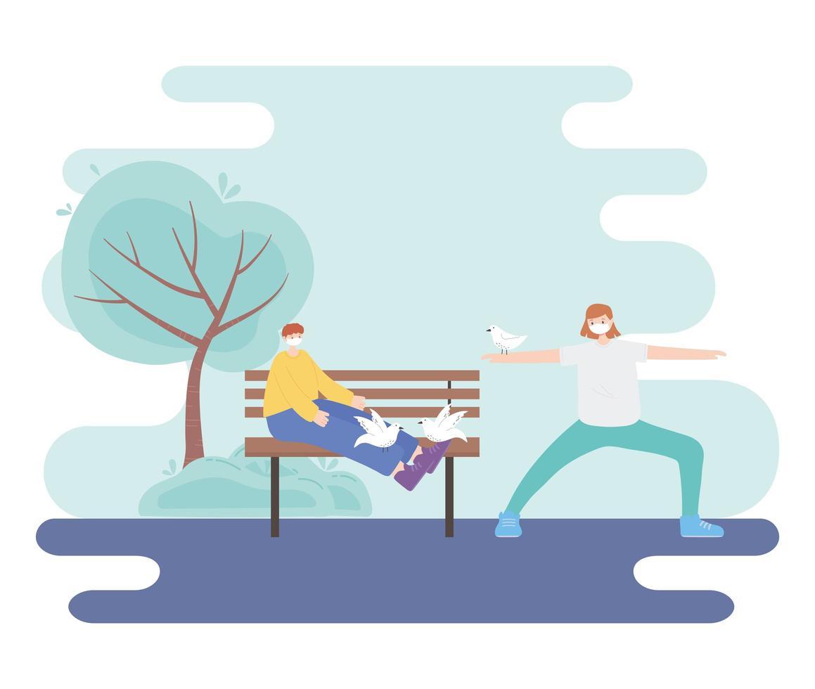 människor med medicinsk ansiktsmask, kvinna stretching motion och pojke sitter på bänken med duvor, stad aktivitet under coronavirus vektor