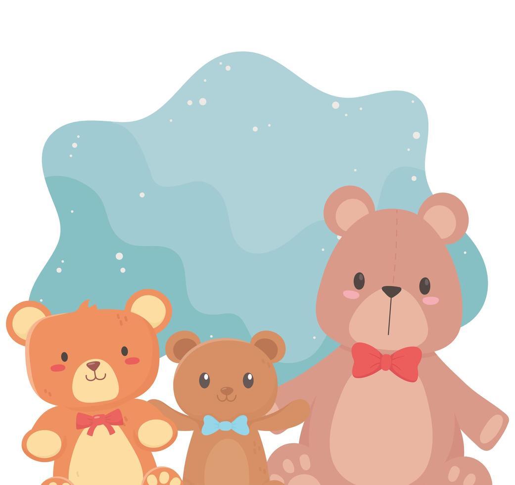 Kinderspielzeug Objekt amüsante Cartoon kleine Teddybären mit Bogen vektor