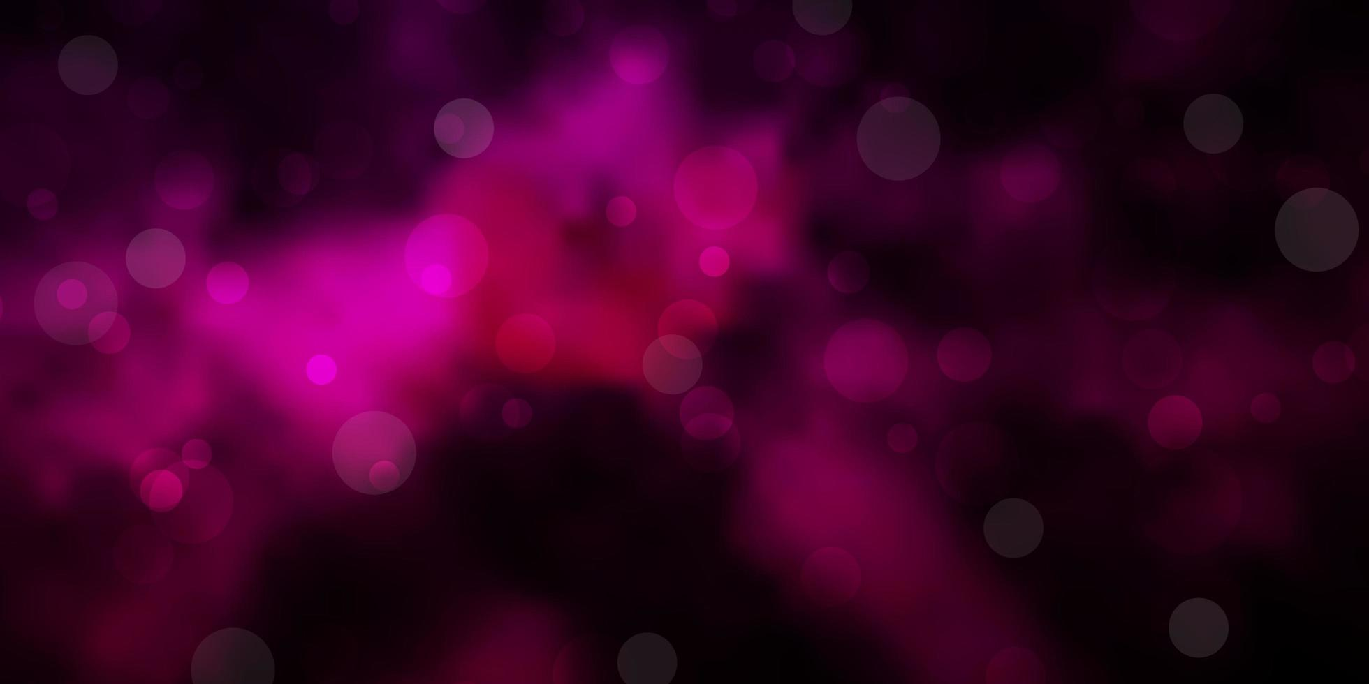 mörkrosa vektormönster med sfärer. vektor