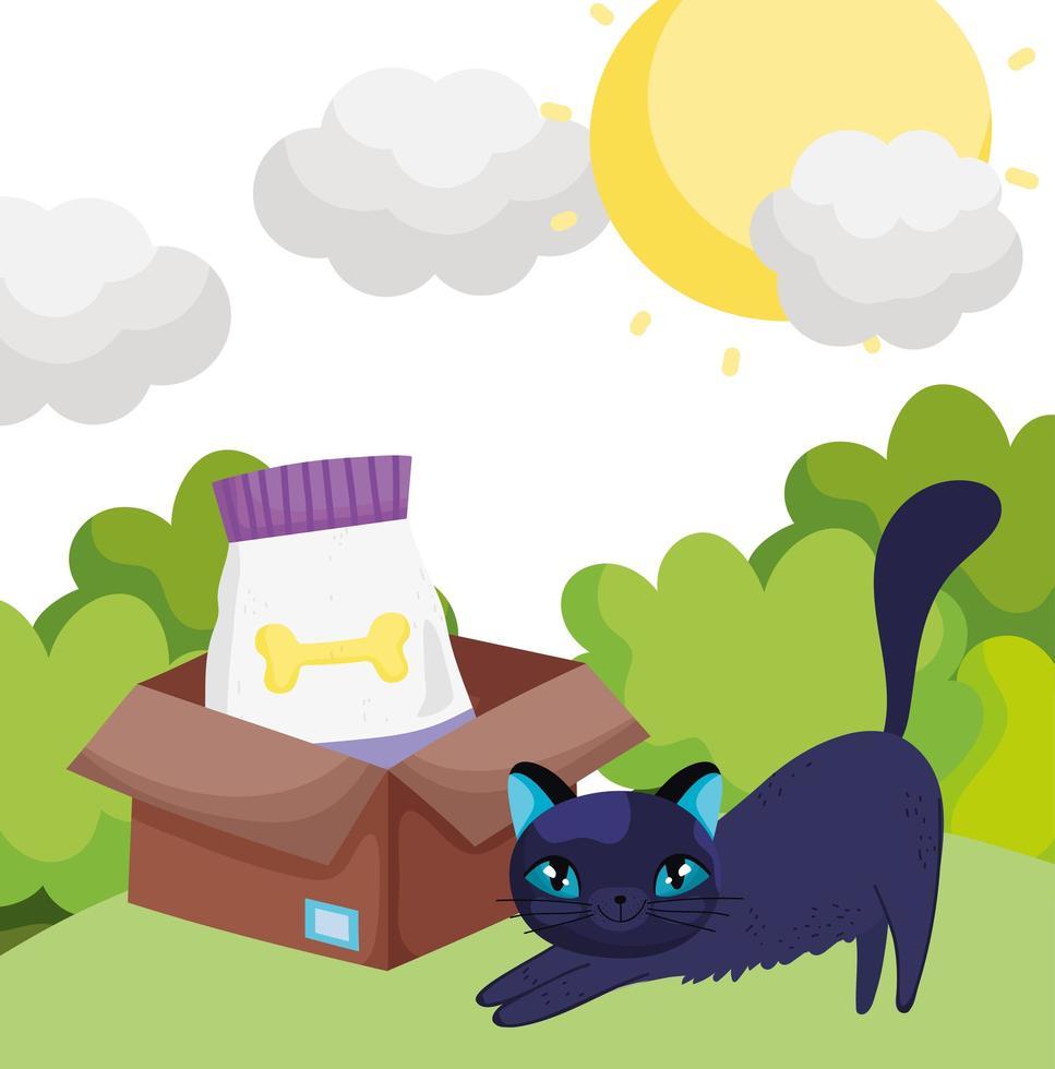 katt med mat i lådan utomhus husdjur vektor