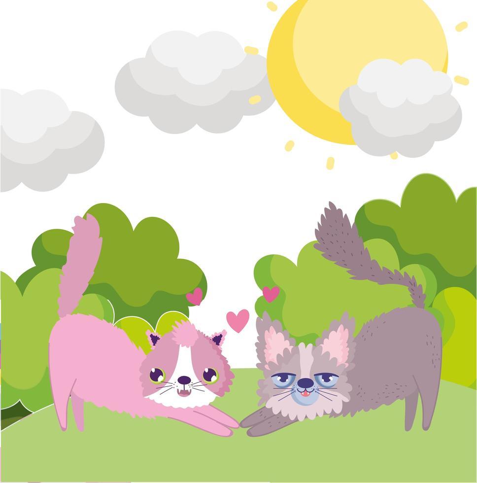 Cartoon Katzen schöne Maskottchen in Gras Himmel Haustiere vektor
