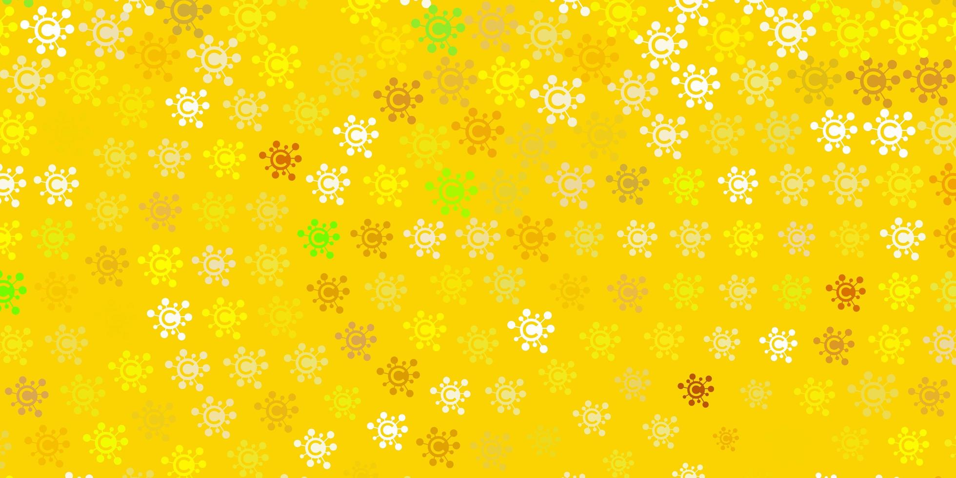 hellgrüner, gelber Vektorhintergrund mit covid-19 Symbolen. vektor