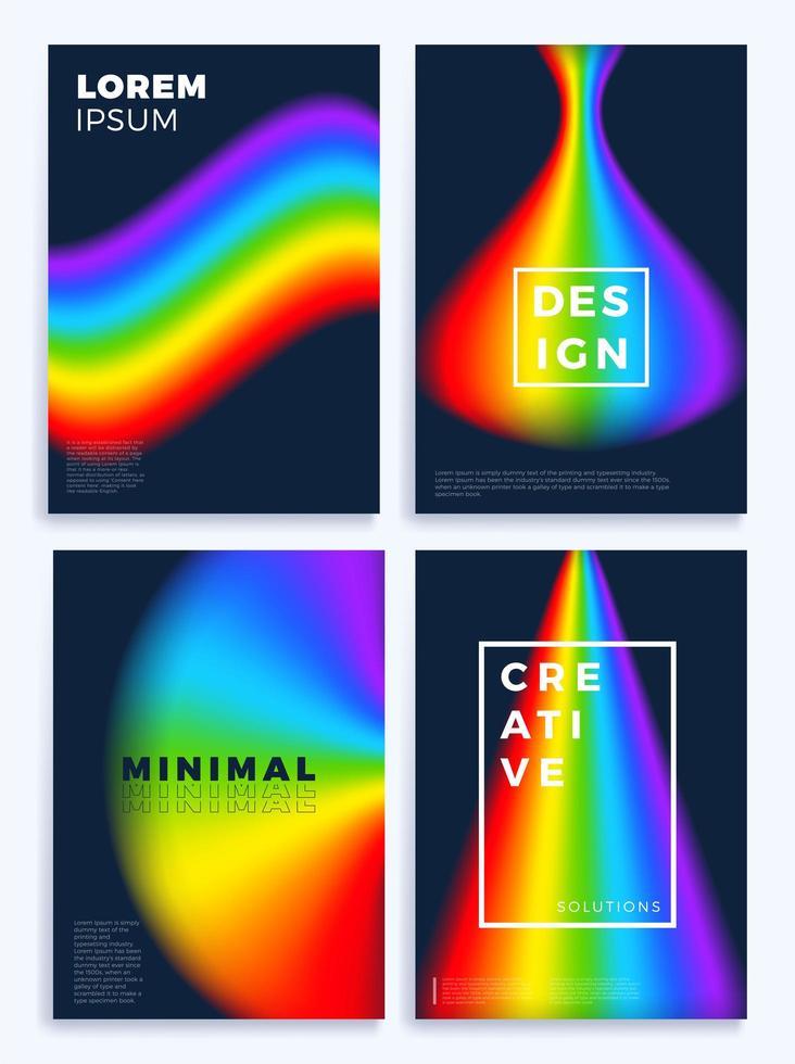 Regenbogen Farbverlauf Wellen Lager Poster Set vektor