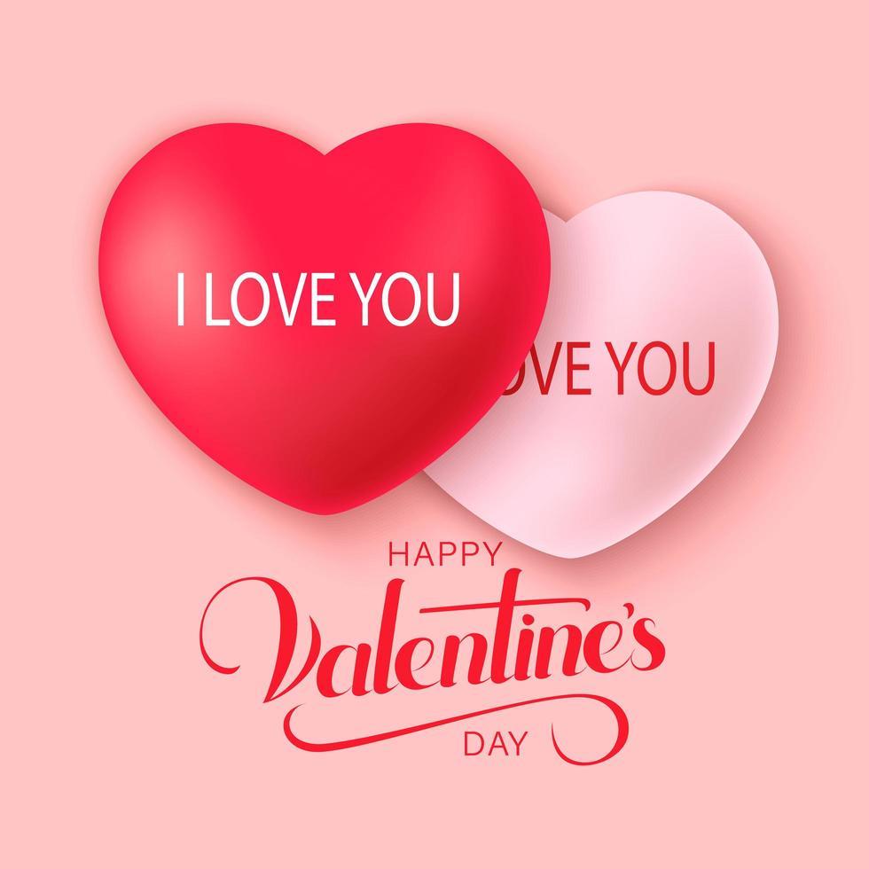 glad saint alla hjärtans dag bakgrund med dekoration hjärtan vektor