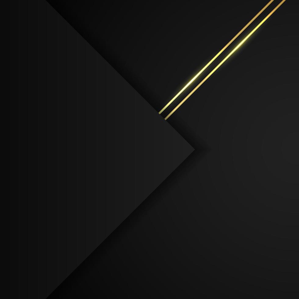 abstrakt svart geometriskt papper överlappande lager bakgrund med gyllene linjer dekoration. vektor