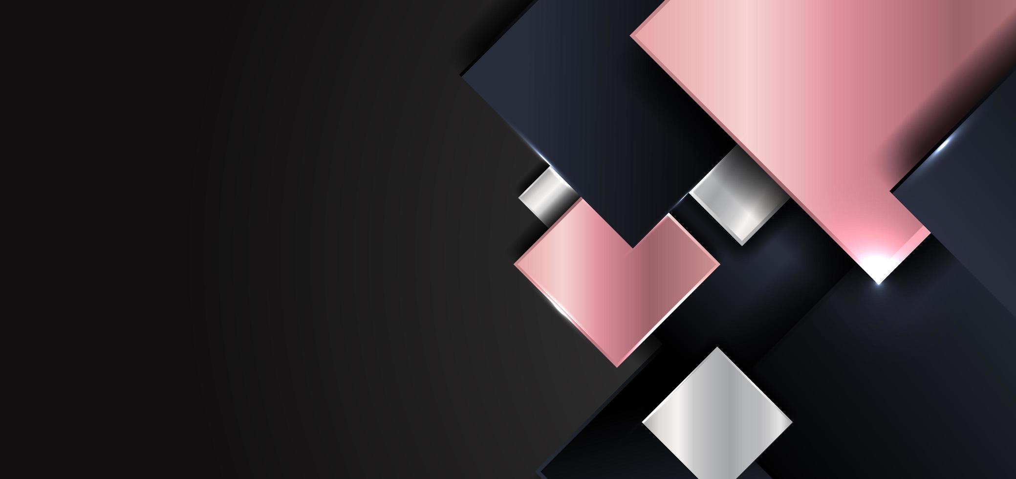 abstrakt geometrisk fyrkantig form glänsande rosa guld, silver, mörkblå färg överlappar med skuggor på svart bakgrund vektor