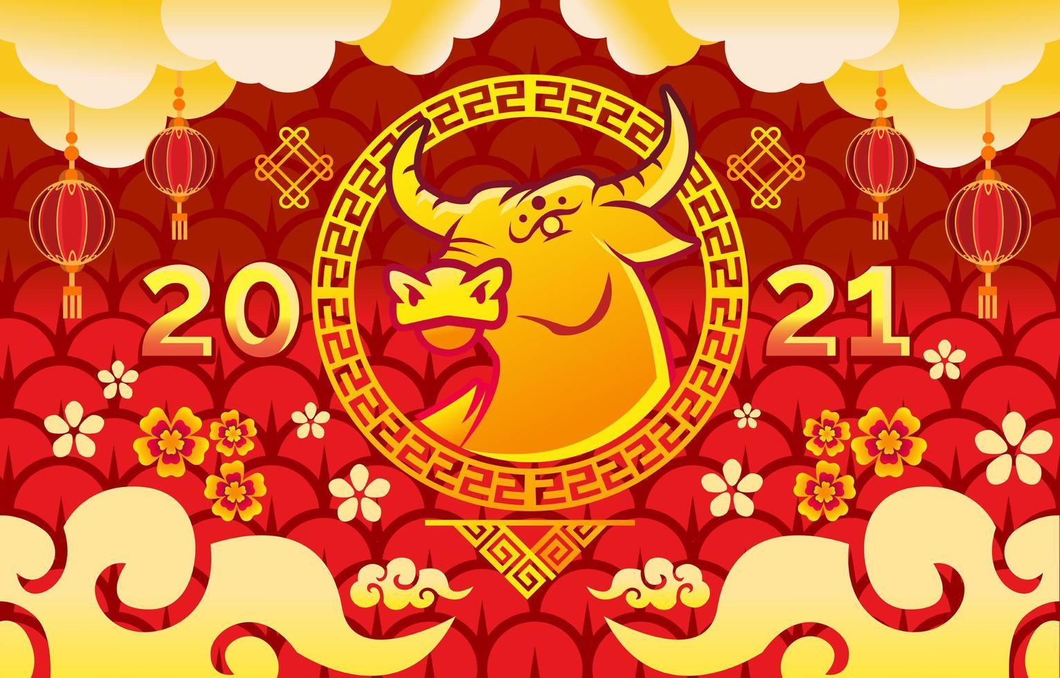 gyllene oxen 2021 kinesiskt nyår vektor