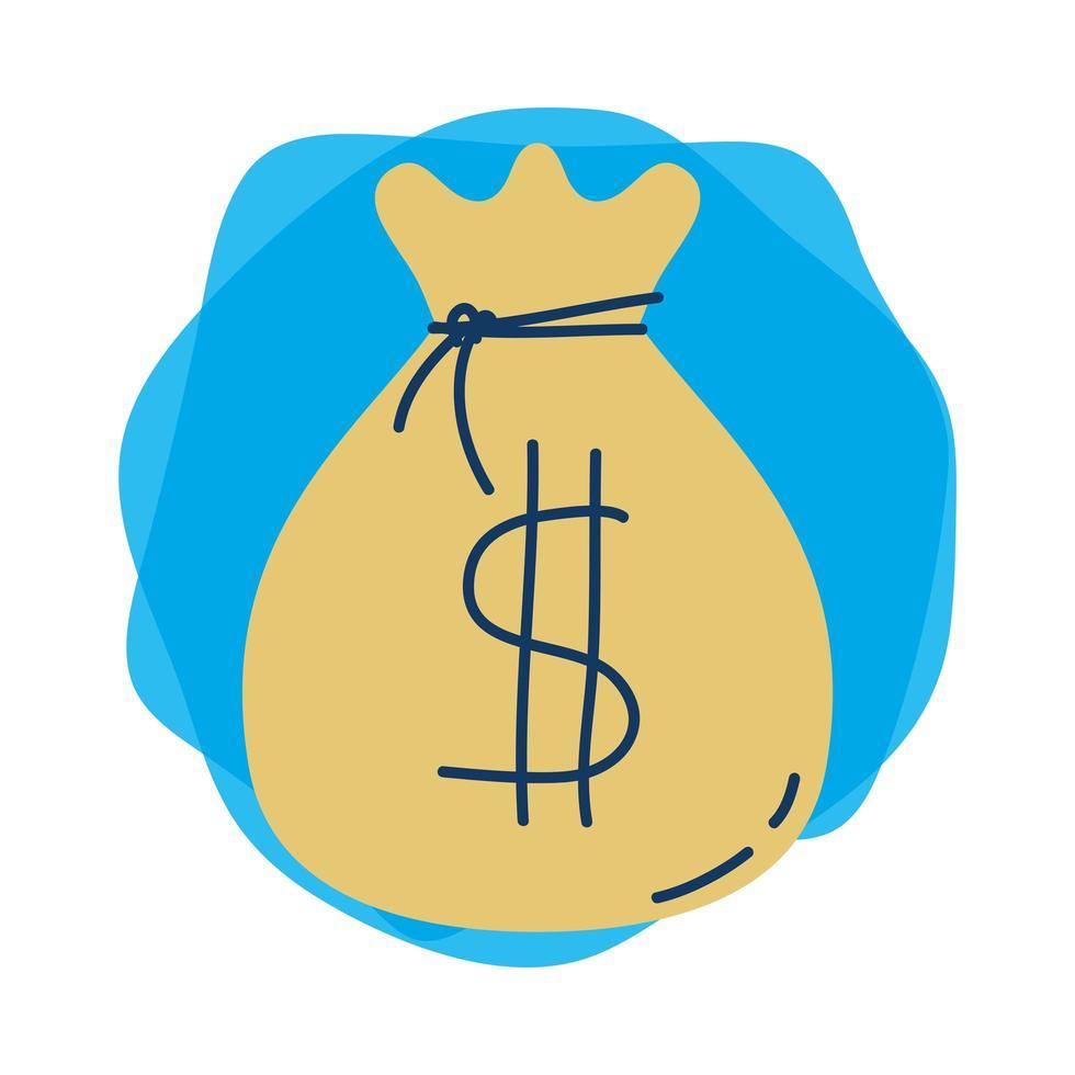 pengar dollar väska isolerad ikon vektor