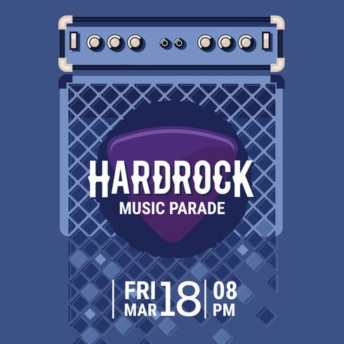 Vector Hard Rock Music Poster med elektrisk gitarr förstärkare och gitarr pickup platt illustration