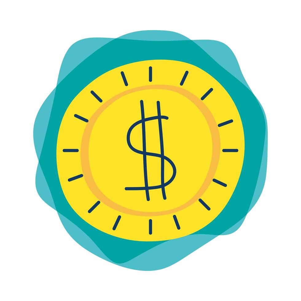 Münzgeld Dollar isoliert Symbol vektor