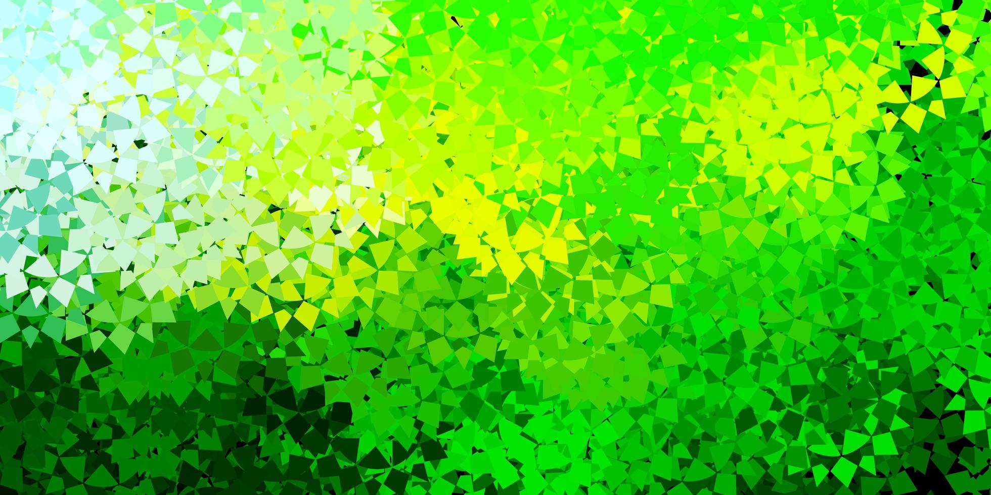 hellgrüner, gelber Vektorhintergrund mit Dreiecken, Linien. vektor