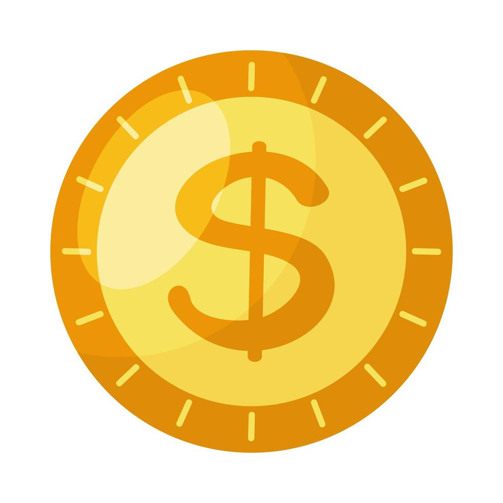 mynt pengar dollar isolerad ikon vektor