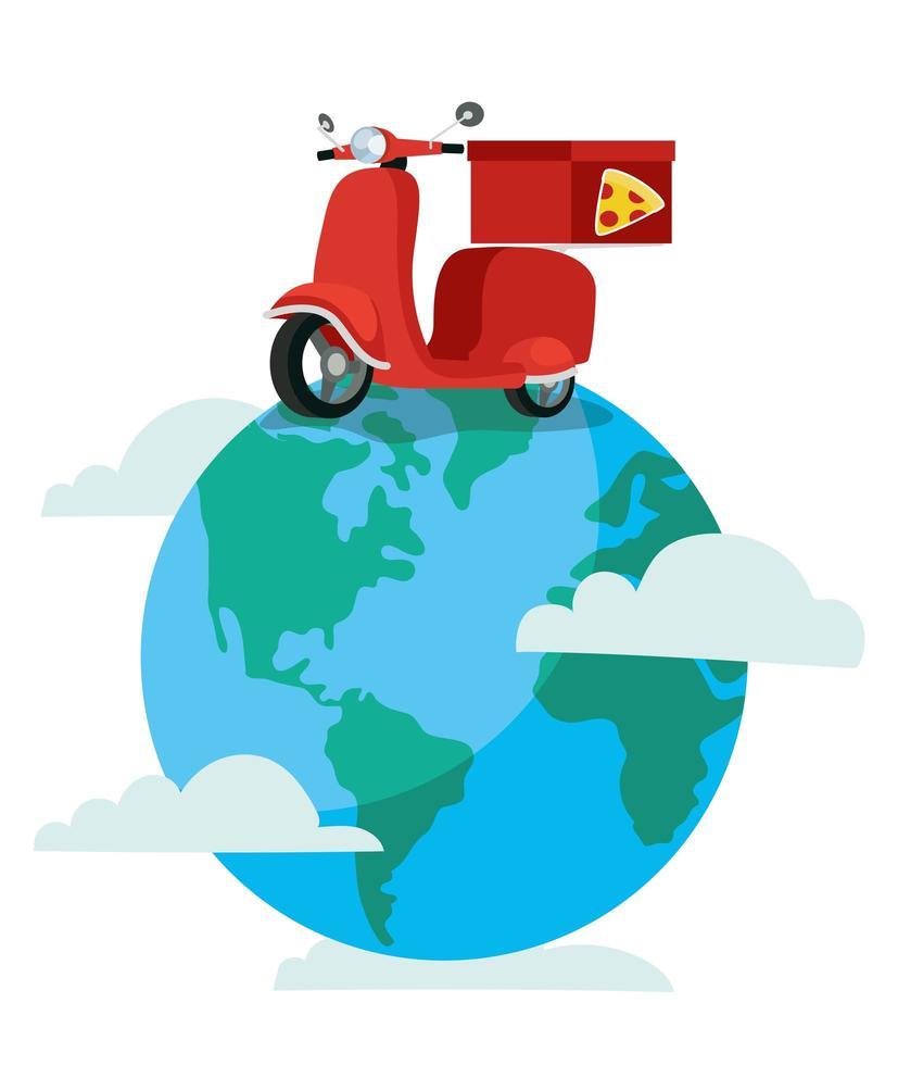 leverans pizza motorcykel på jorden planet vektor