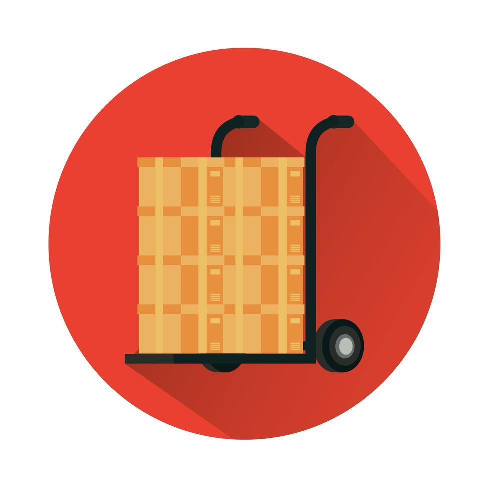 vagn med lådor kartongleveransservice vektor