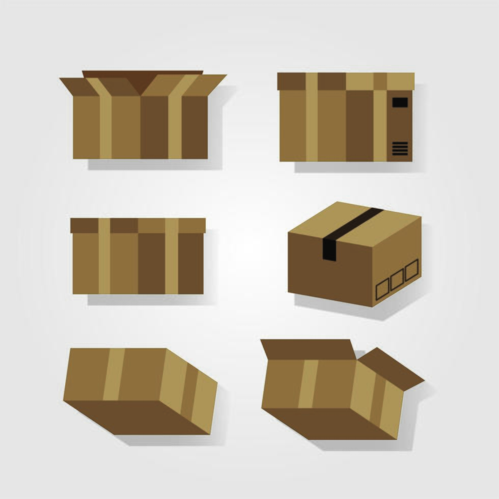 ställa in kartongleveransservice vektor