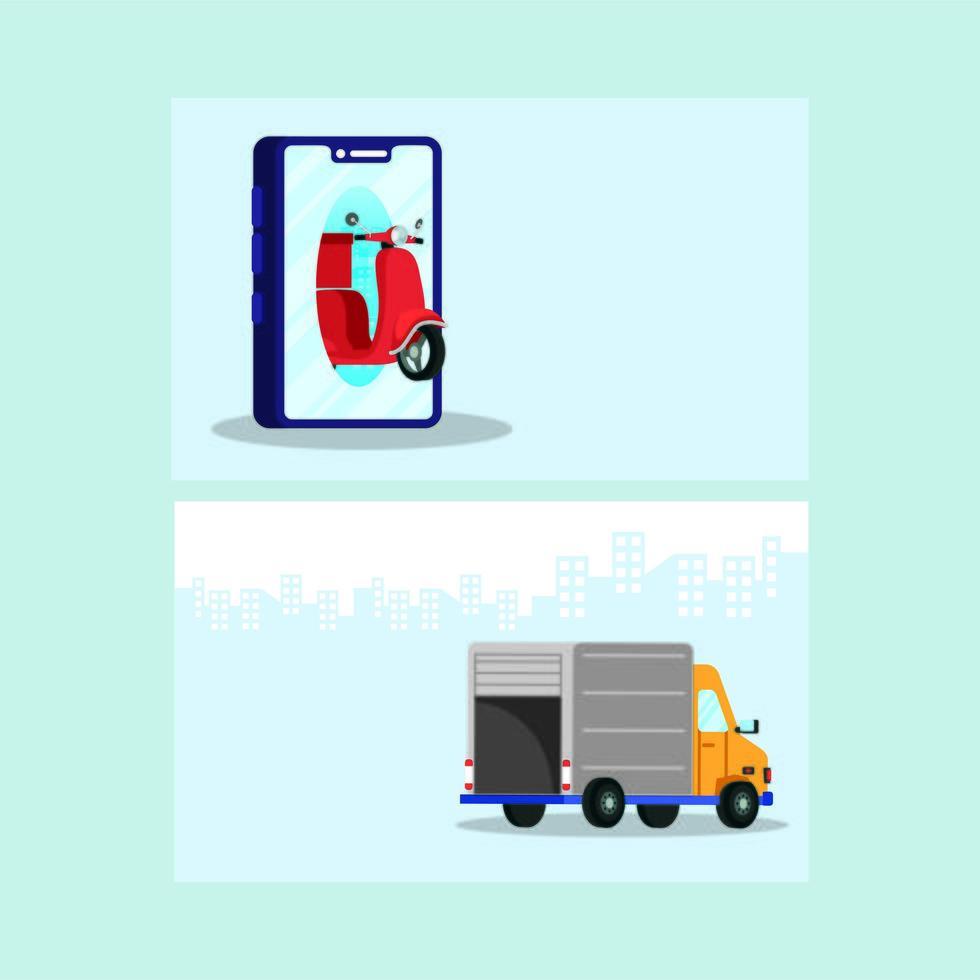 leverans motorcykel i smartphone med lastbil vektor