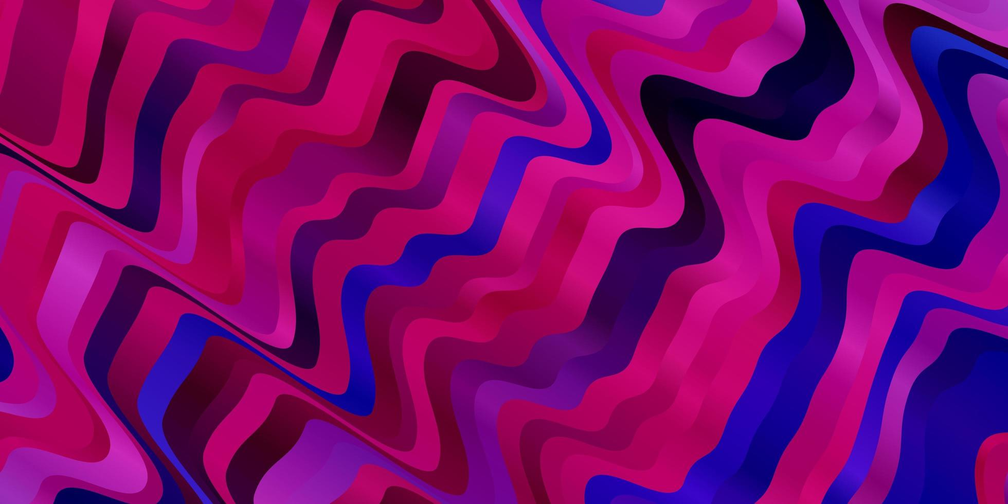 dunkelrosa, blaues Vektormuster mit gekrümmten Linien. vektor