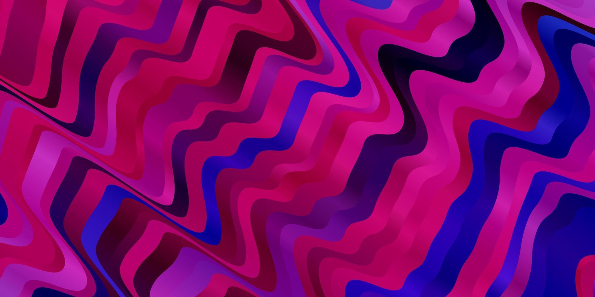 mörkrosa, blå vektormönster med böjda linjer. vektor