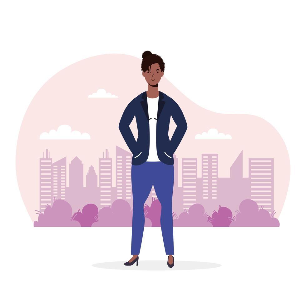 afrikansk ung kvinna avatar karaktär vektor