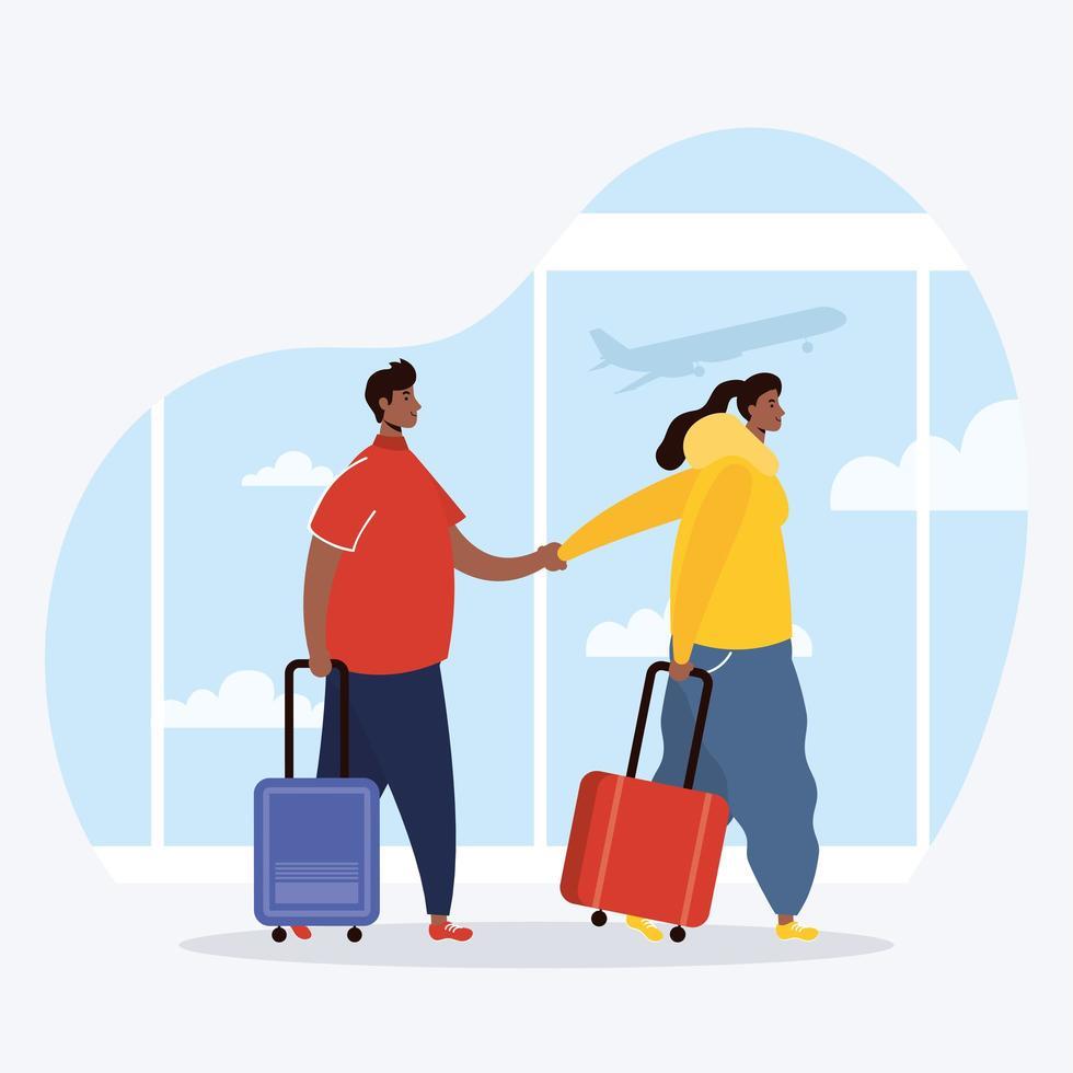 interracial par resenärer med resväskor avatarer karaktärer vektor