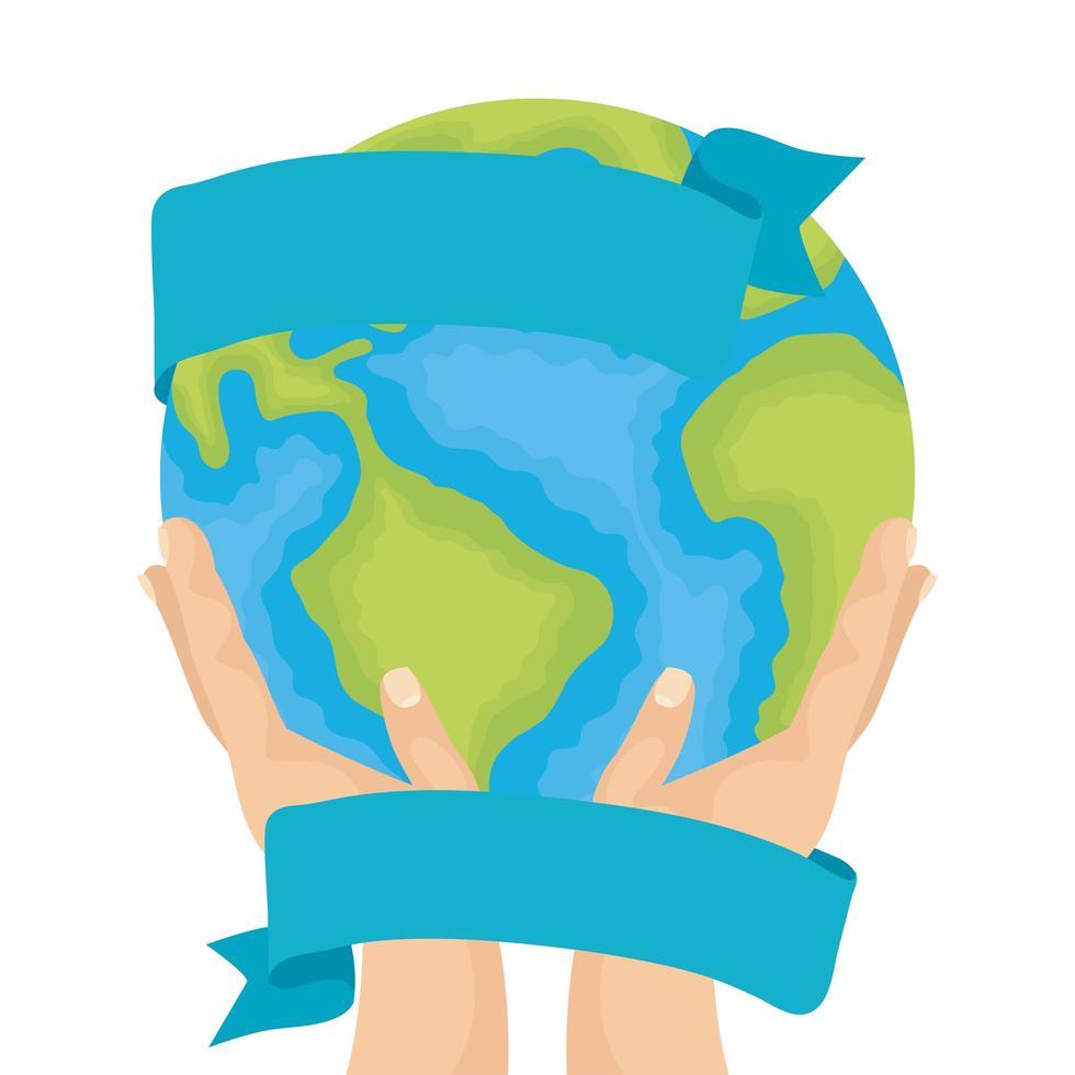 händer som lyfter världen planet jorden vatten dag ikon vektor