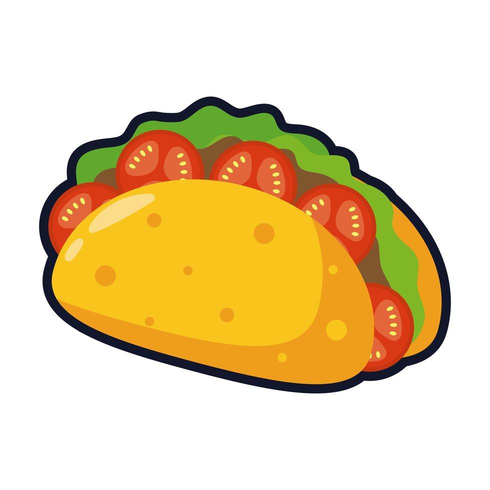 köstliche mexikanische Tacos traditionelles Essen flache Stilikone vektor