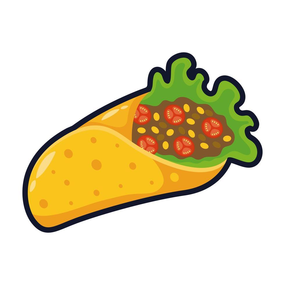 köstliche mexikanische burrito traditionelles Essen flache Stilikone Vektor-Illustration Design vektor