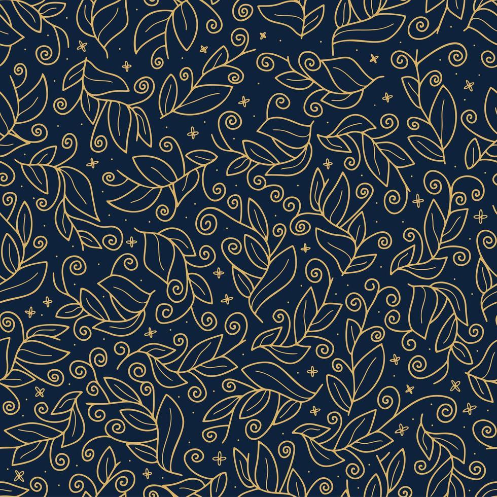 Luxus Gold niedlichen Vektorblatt nahtloses Muster vektor