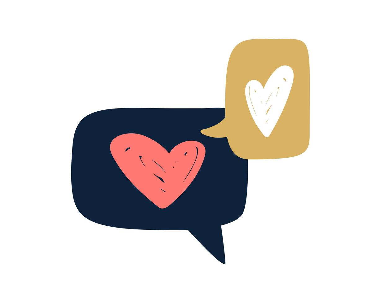 två romantiska bubbla text med hjärtan vektor