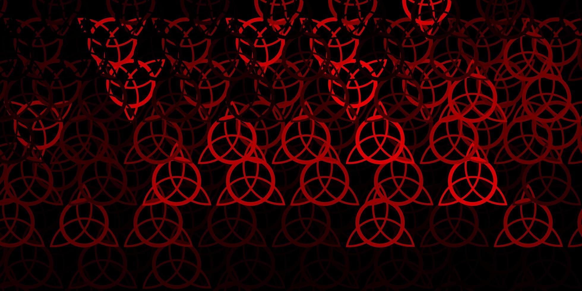 dunkelroter Vektorhintergrund mit okkulten Symbolen. vektor