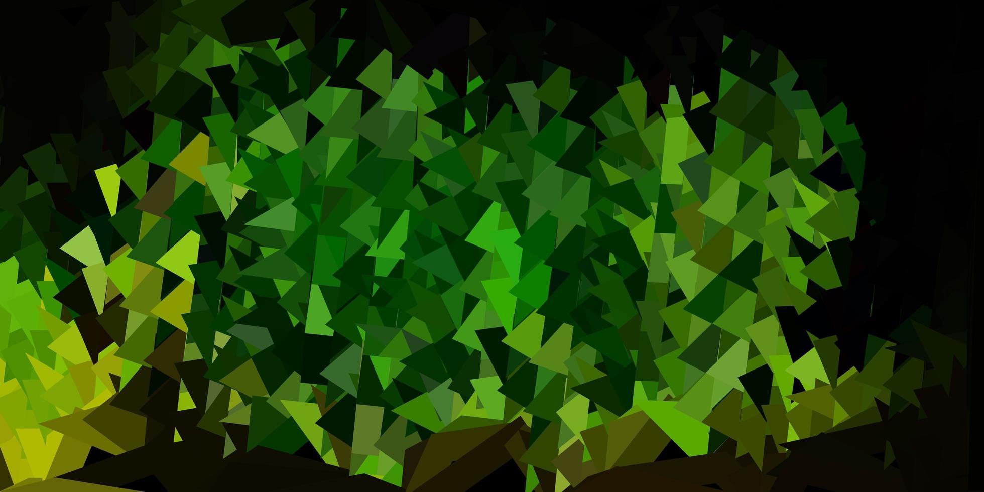mörkgrön, gul vektorgradient polygon tapet. vektor