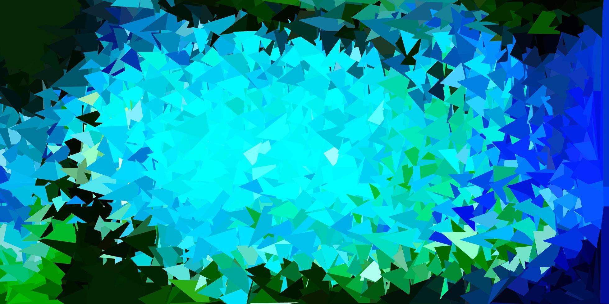ljusblå, grön vektor triangel mosaik bakgrund.